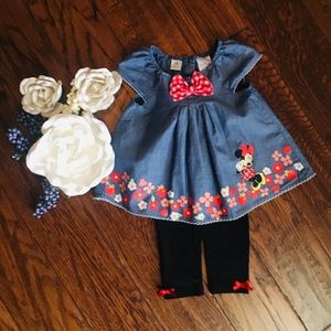 24MO Minnie Mouse denim swing top.